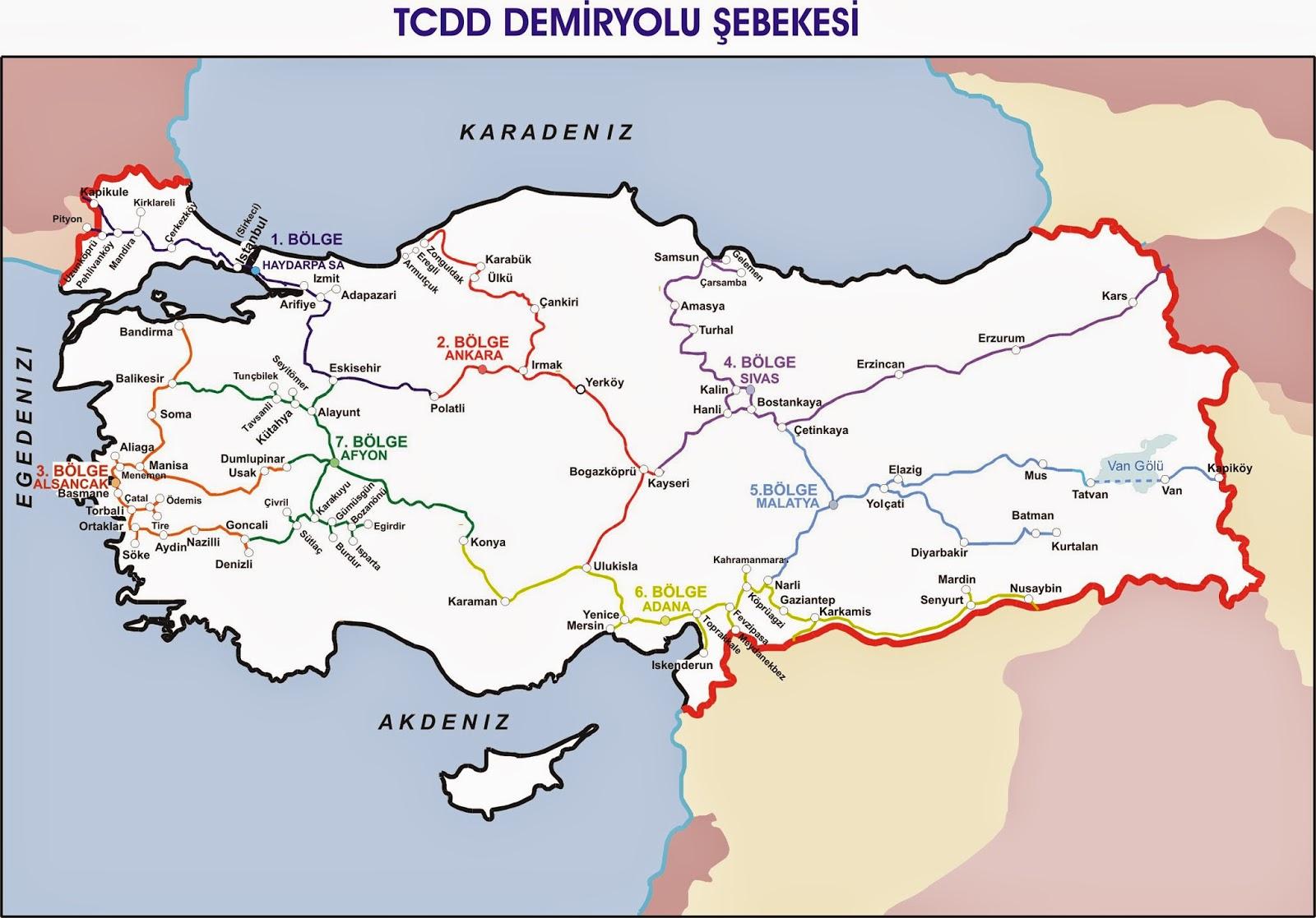 Türkiye Tren Yolları Haritası