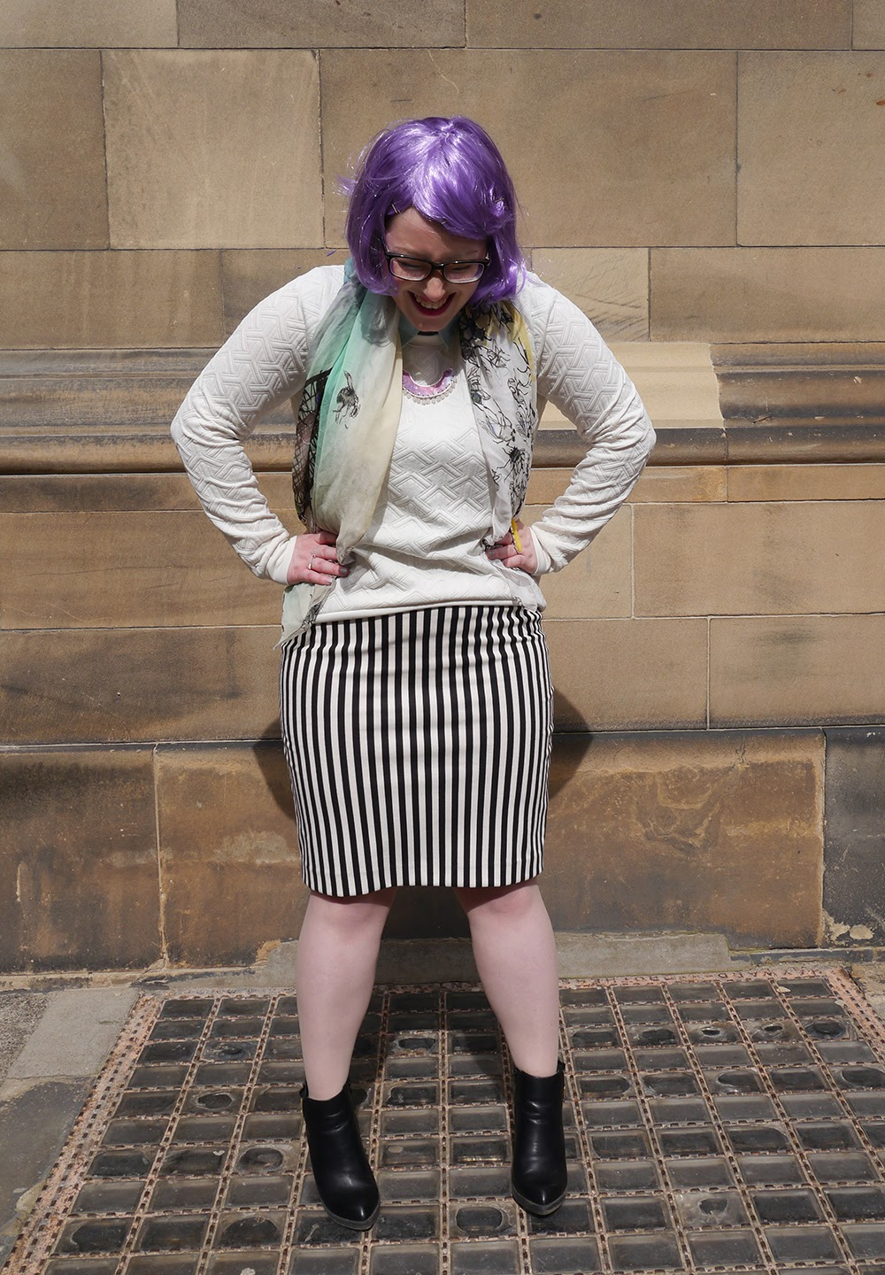 #scotstreetstyle, #EdFashion, Edinburgh, street style, monochrome, stripe, Wear Eponymous, Naromode