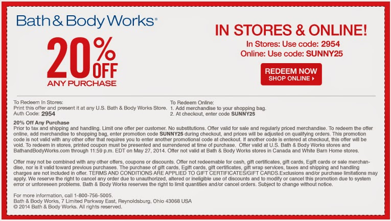 Bath & Body Works Coupon Printable