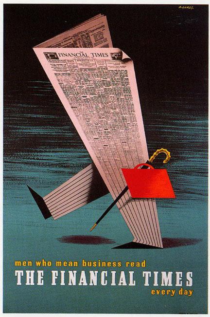 edward mcknight kauffer, modernism, 1930, financial times, graphic design, poster, london,