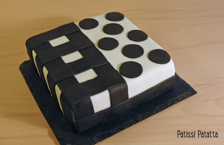 cake design, gâteau 3D, pâte à sucre, gumpaste, fondant, gâteau noir et blanc