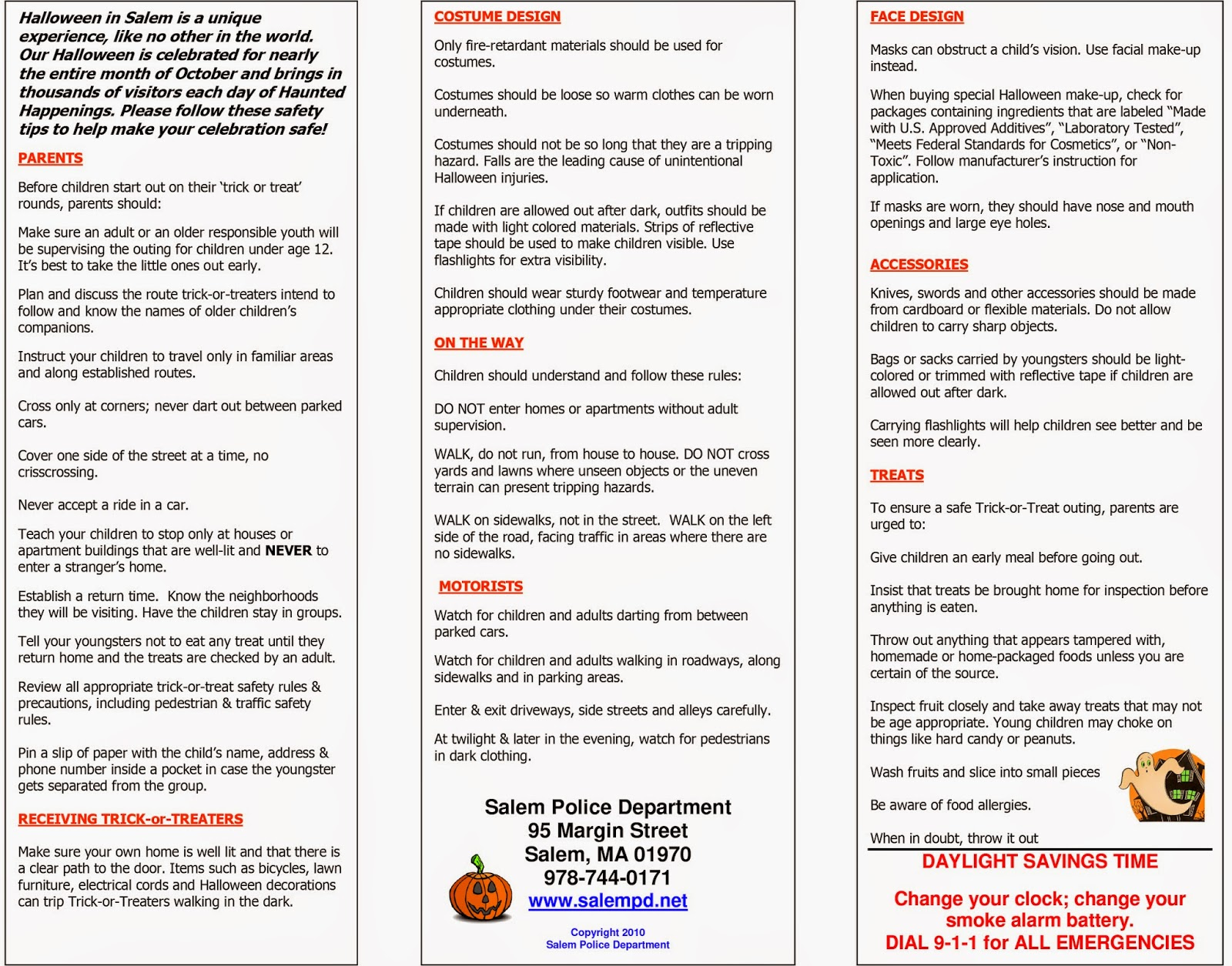 salem police department halloween trick or treat hours and safety tips - Halloween Tips For Parents