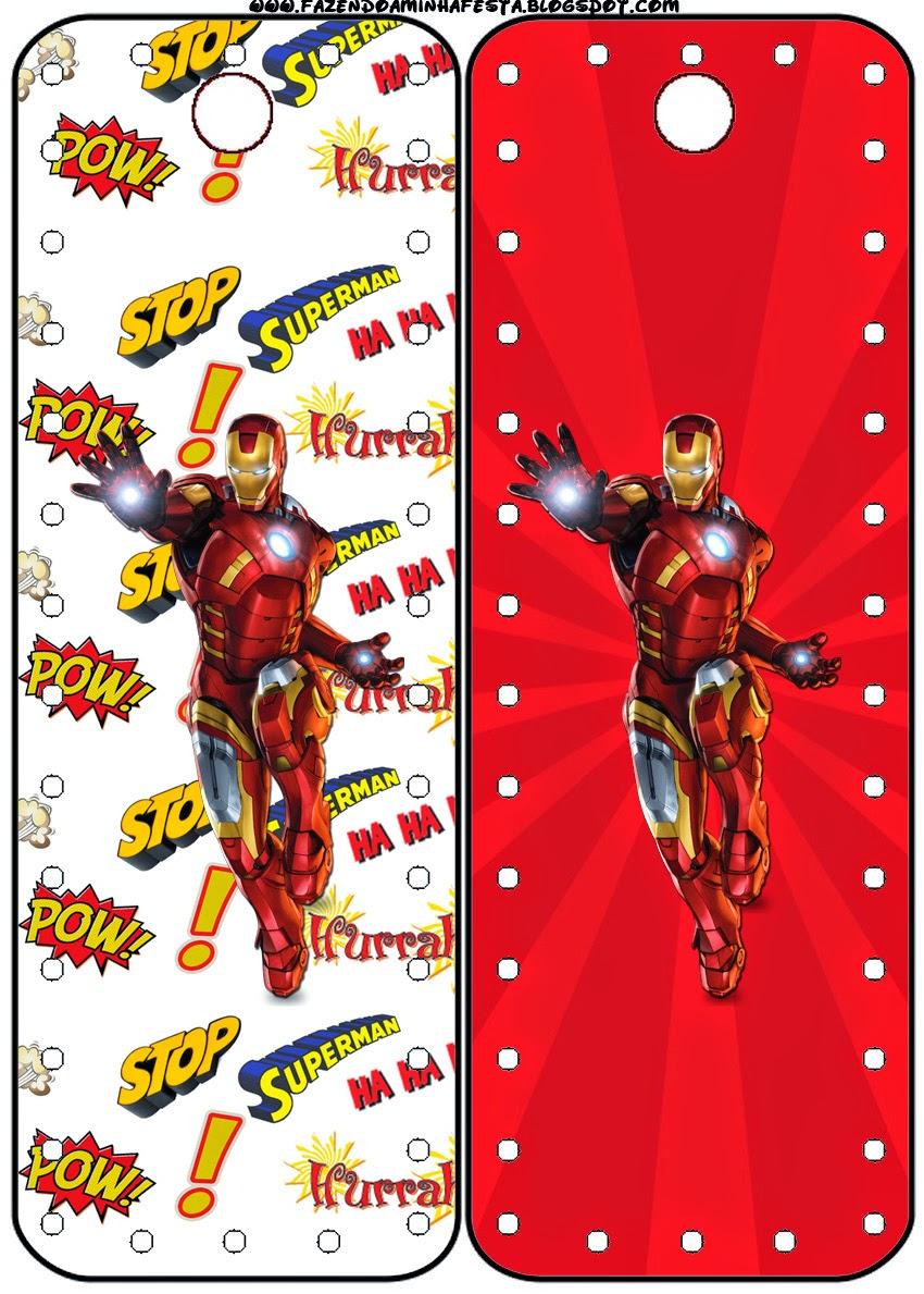 Para Marcapaginas de Iron Man para imprimir gratis.