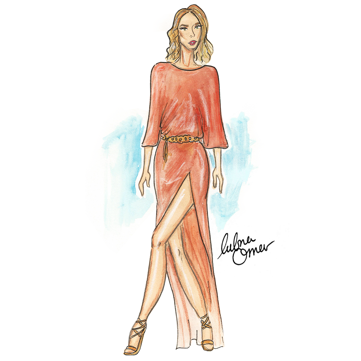 Rosie Huntington-Whiteley in Cushnie Et Ochs illustration by Lubna Omar