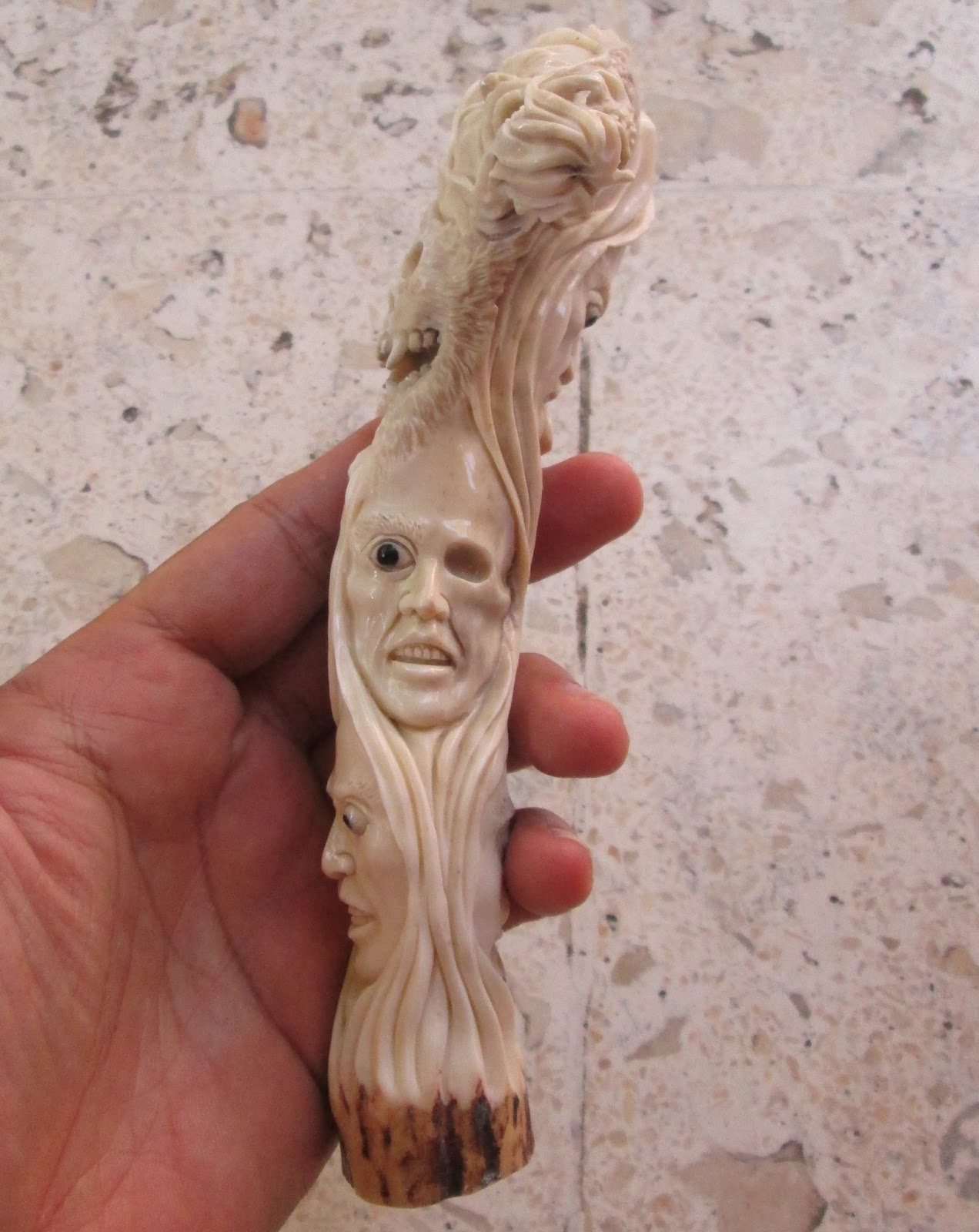 Woman Evil Monster Skull Snake Handle Carving in Antler