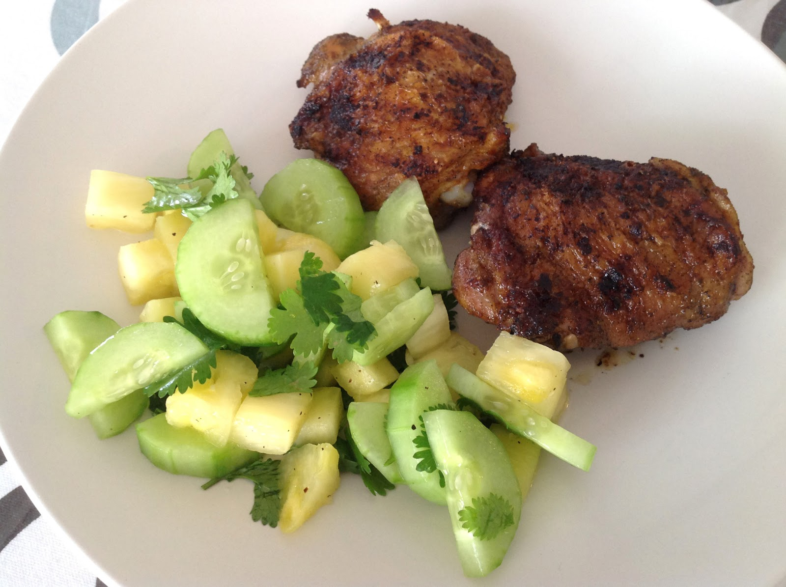 Broiled Chicken Thighs With Pineapple-Cucumber Salad Recipe ...