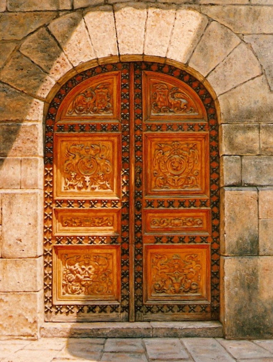 Cuadros pinturas oleos portones antiguos al leo - Pintura puertas madera ...
