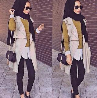 Foto Paduan Celana Jins Hitam dan Baju Muslim Trend Busana 2016