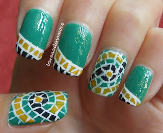 Mosaic nail art with Bourjois Vert Chlorophylle, Jaune Trendy, Essence Date in the Moonlight and Essie As Gold As It Gets