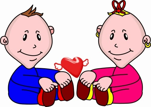 Baby boy and baby girl free clipart