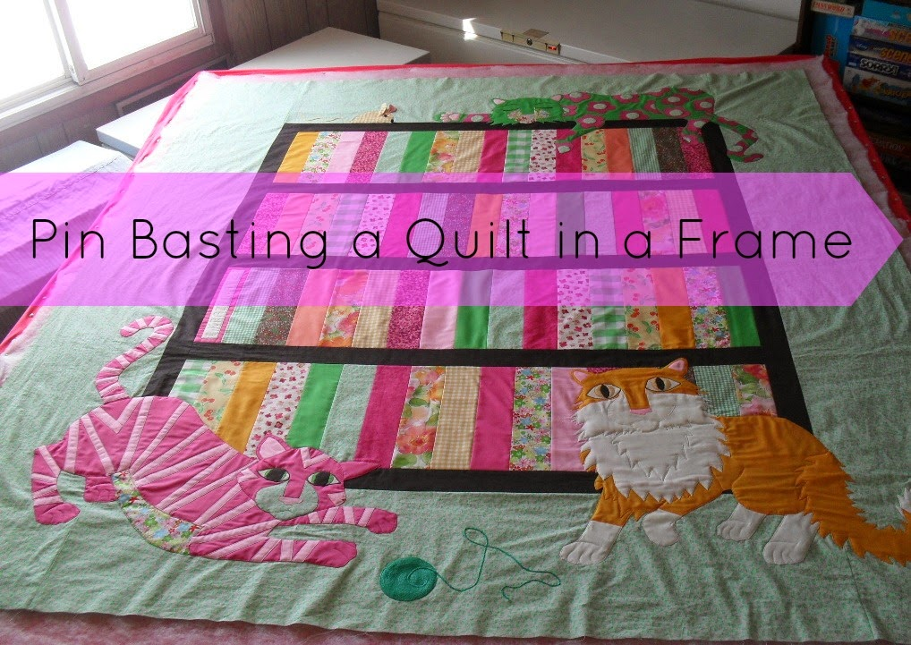 Pin Basting Quilt in a Frame tutorial