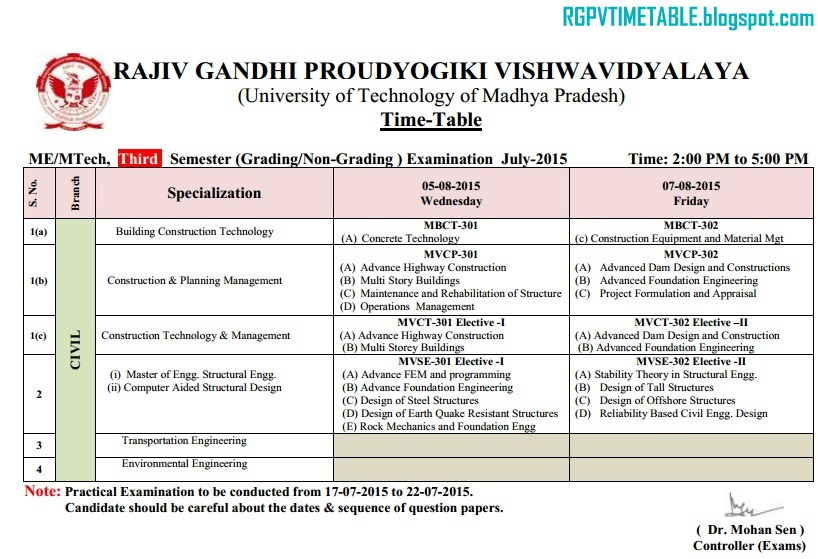 Rgpv me m tech 3rd sem examination time table rajiv for Rgpv time table 6th sem 2015