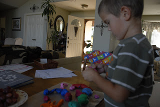 grandson playing with play dough