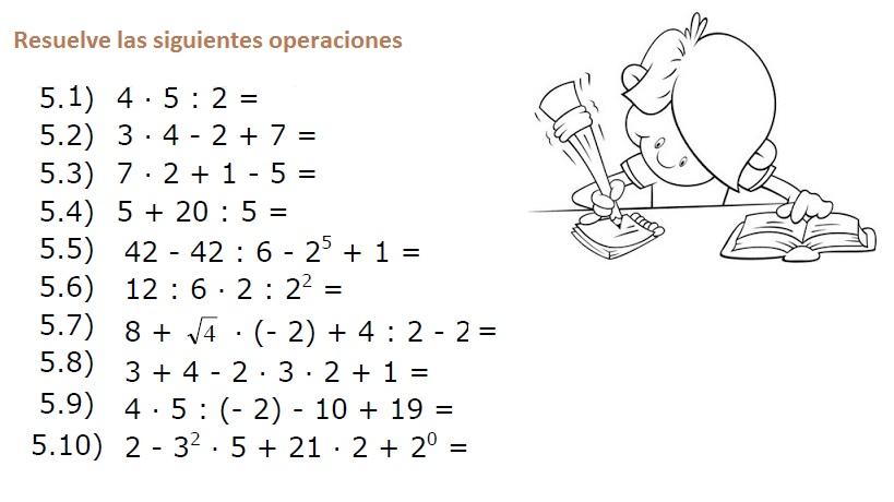 Resultado de imagen de problemas de jerarquia de operaciones para secundaria