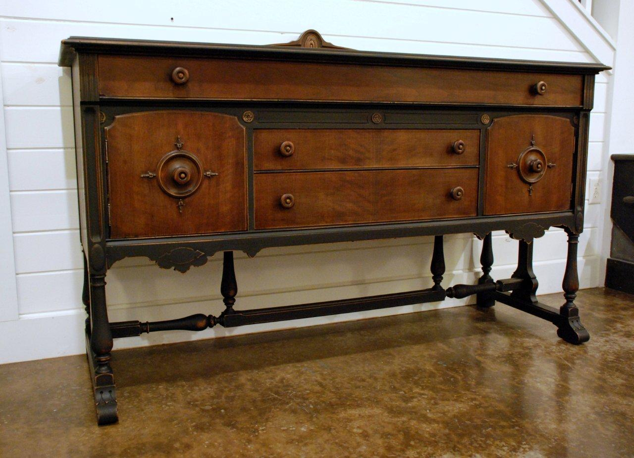 WaterHouse Market: Beautiful Black & Stained Wood Buffet  Sold. Full resolution  portrait, nominally Width 1280 Height 926 pixels, portrait with #673C18.