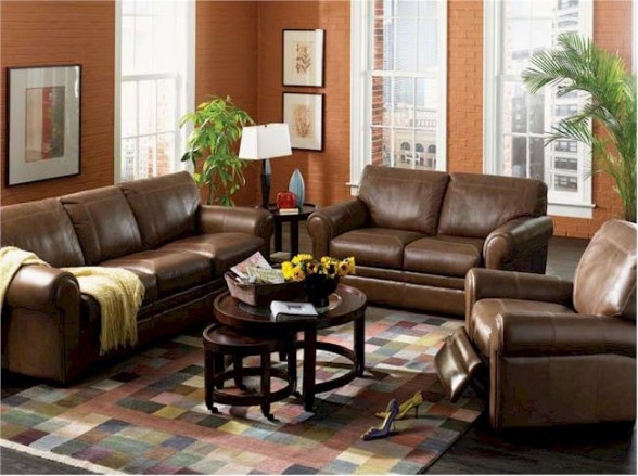 Leather living room furniture furniture for Living room designs with oak furniture