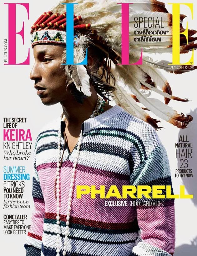 Pharrell Williams's wearing a Native American feather headdress on a cover of Ellle UK.