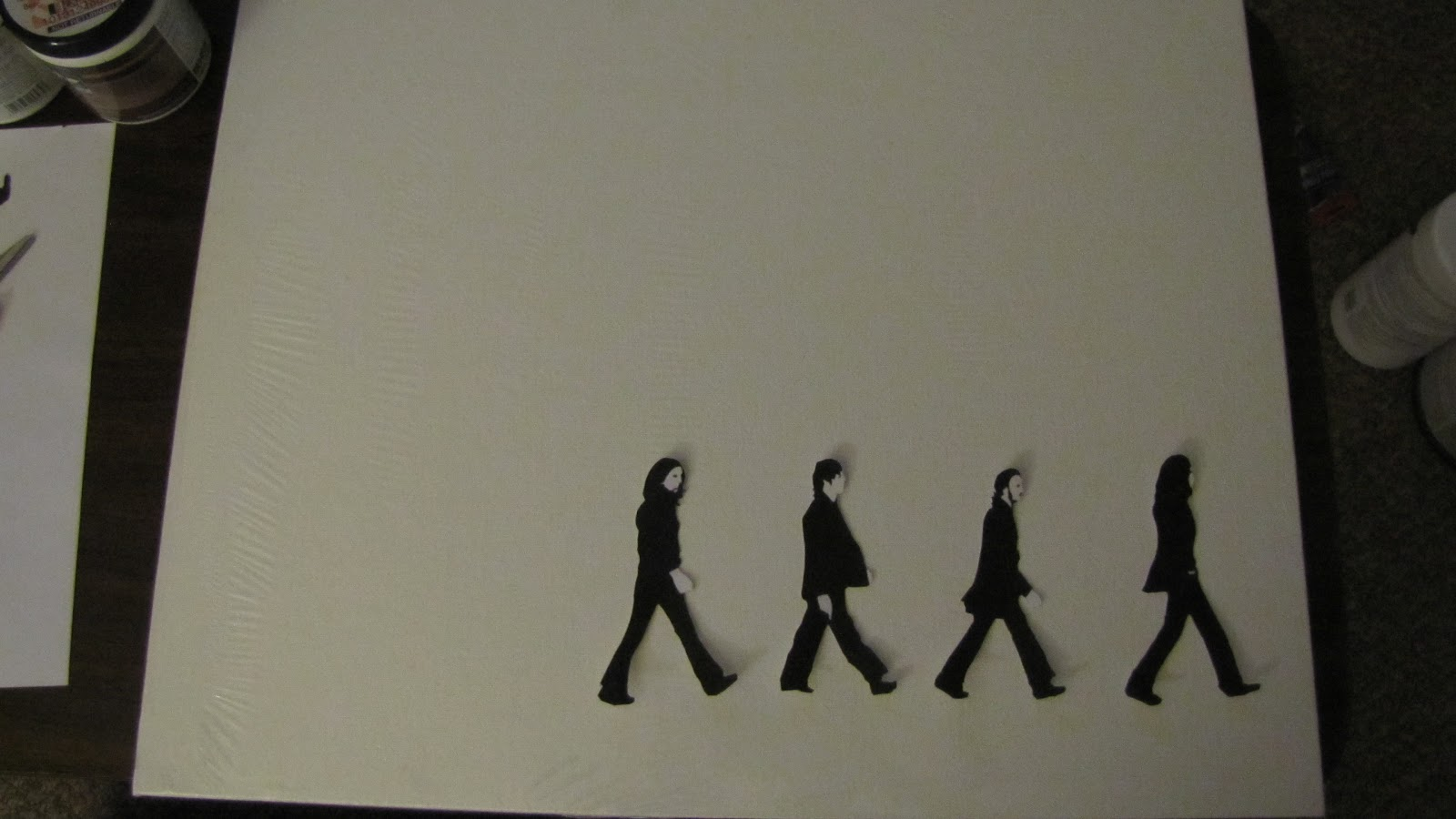 Adventures in diy the beatles abbey road canvas for Beatles tattoo abbey road