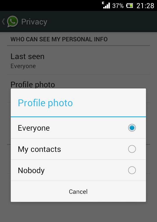 hide profile pic in whatsapp