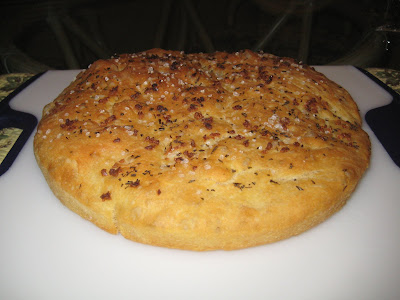 Italian Focaccia Bread sprinkled with coarse sea salt and garlic