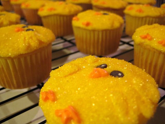 Easter Chick Cupcakes - Close-Up Angled View