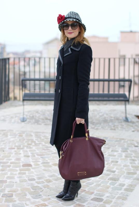 Balenciaga coat, pied de poule hat