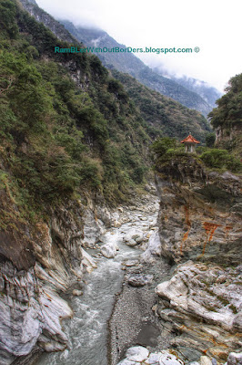 Pavilion on rock near Cimu Bridge, Taroko National Park, Taiwan