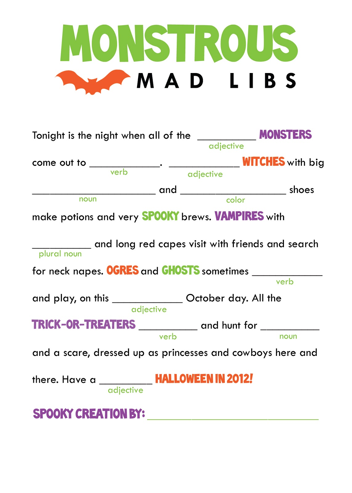 It's just a photo of Peaceful Mad Libs to Print