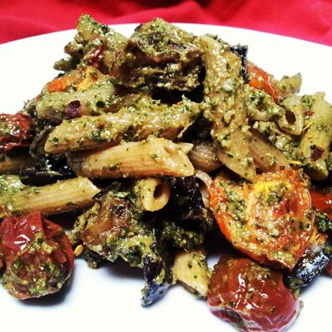 red or green?: Roasted Eggplant & Tomato Pasta with Spicy Carrot Top ...
