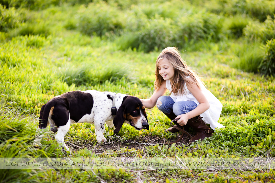 photo of a girl and a basset hound - Terre Haute photographer