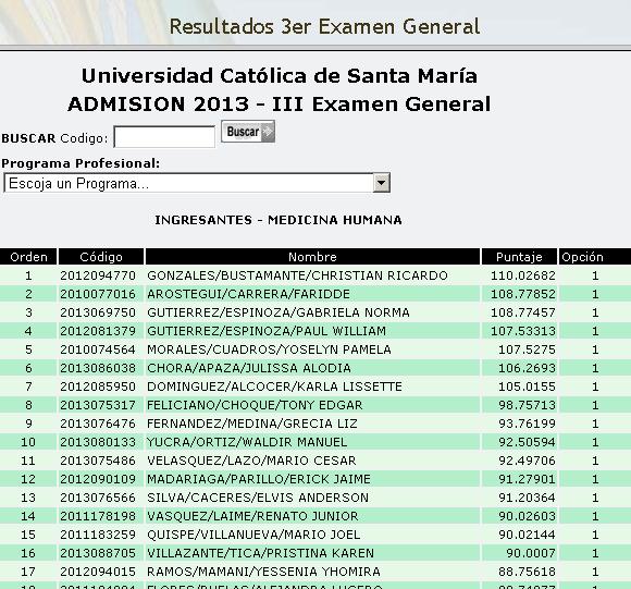 Resultados tercera prueba admision Universidad Católica de Santa María UCSM 2013 I