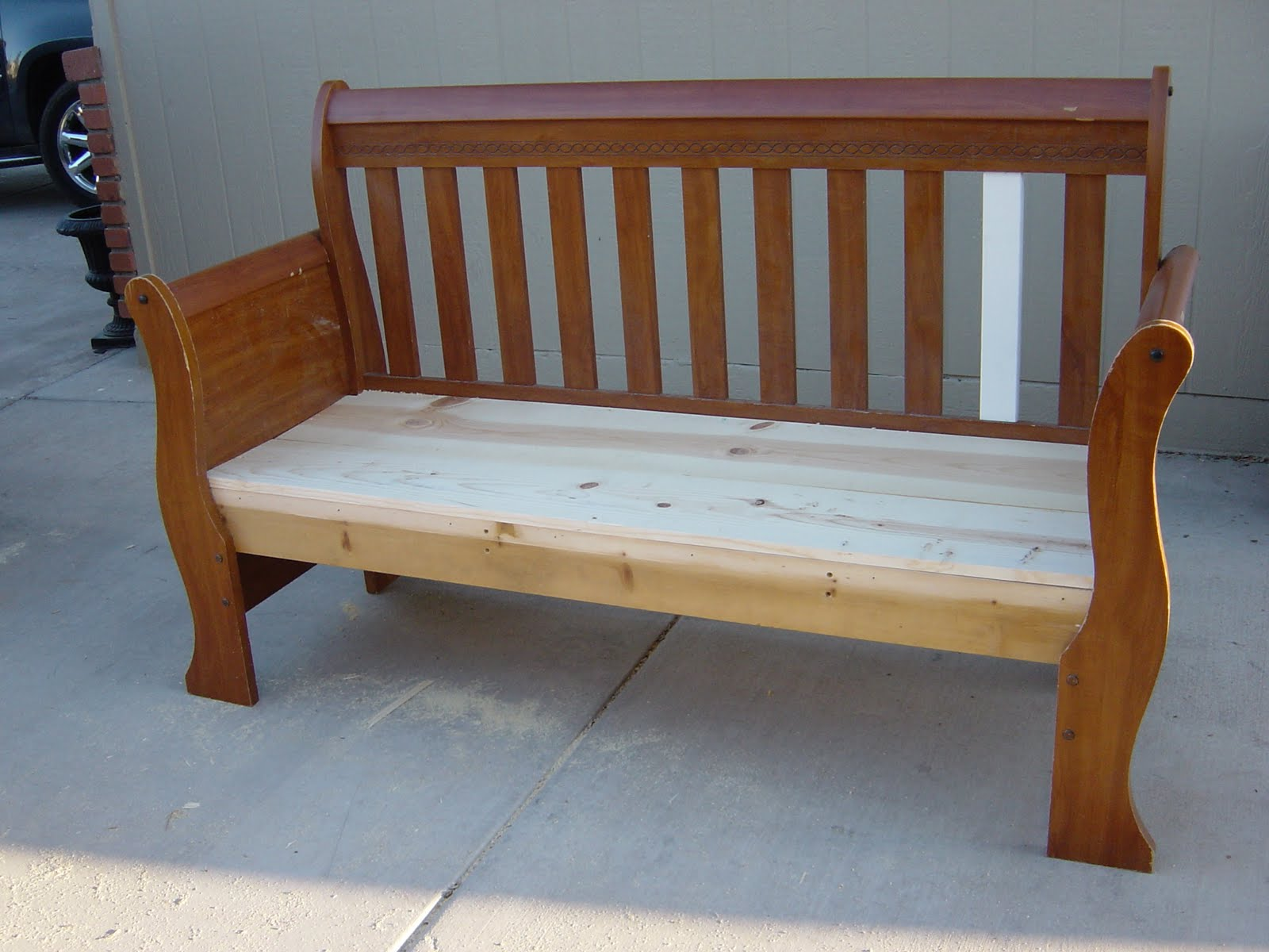 The Backyard Boutique By Five To Nine Furnishings Before And After Black Distressed Sleigh Bench
