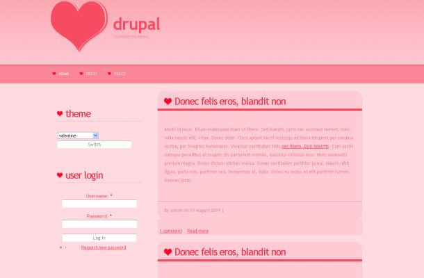 Free Pink Valentine Love Drupal Theme Template