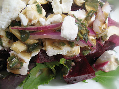 Beet and Feta Salad Dressed with Honey, Balsamic Vinegar and Oregano ...