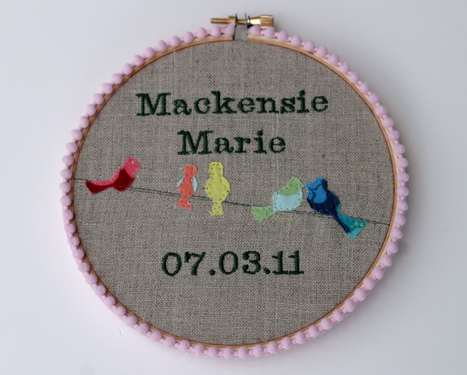 Pinkplease Personalized Embroidery Hoop Baby Gift