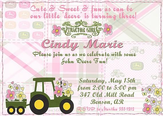 Girls birthday invitations tractor birthday theme invitation farm tractor birthday theme invitation farm or garden pink filmwisefo