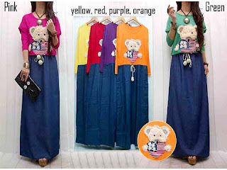Dress Lebaran Dress Kaos Bear Cute Dengan Rok Denim Gaul