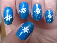 Blue gradient with flowers