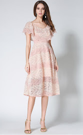 New 2017 Pink Shawl Collar Flare Lace Dress