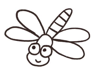 ギンヤンマのイラスト(トンボ・虫) モノクロ線画