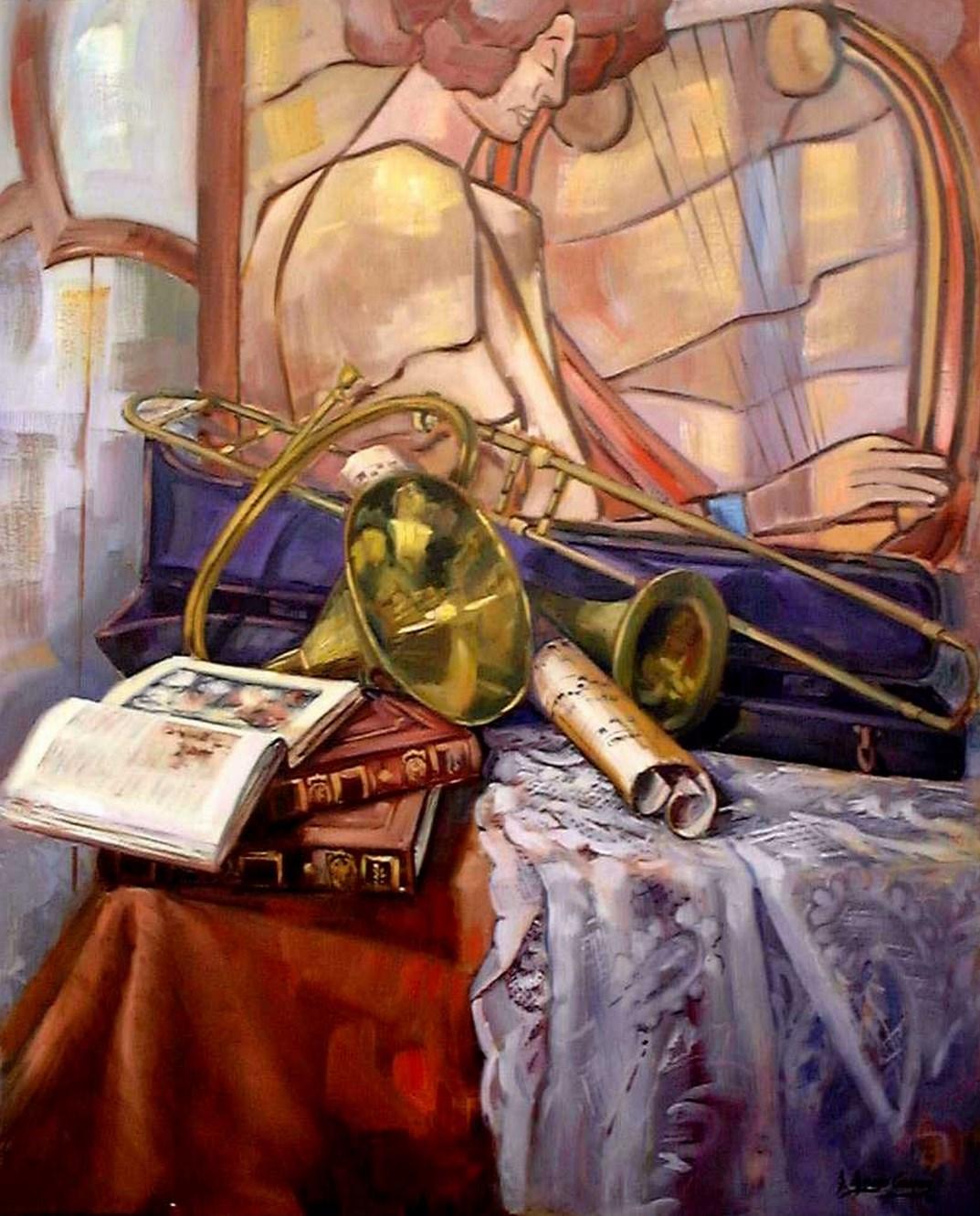 Cuadros modernos pinturas y dibujos bodegones musicales - Cuadros bodegones modernos ...