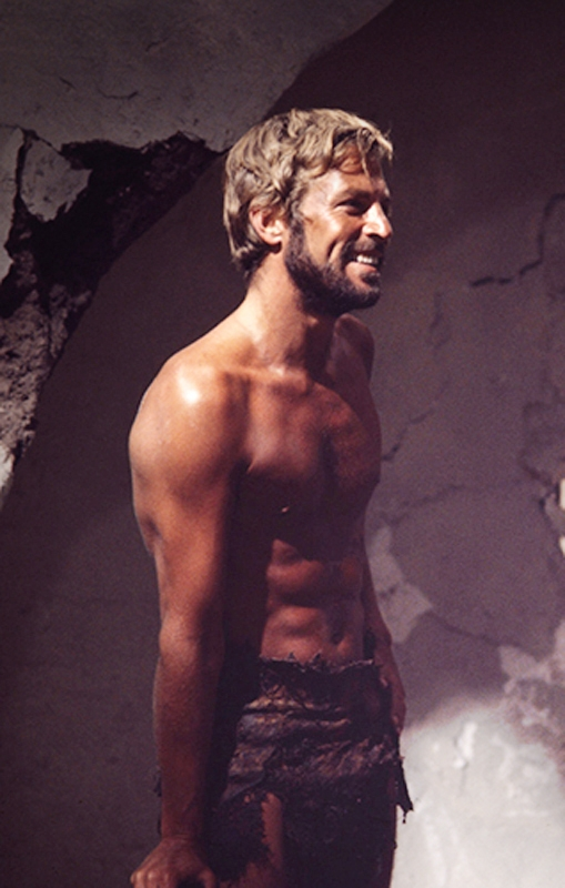 shirtless james franciscus displays abs