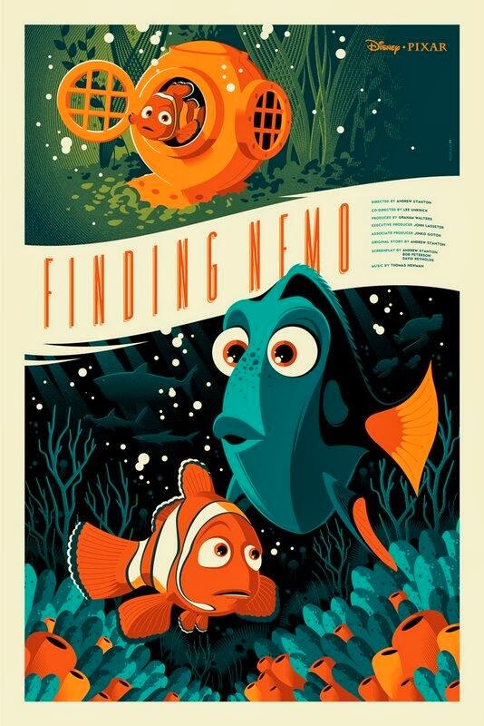 Finding Nemo Tom Whalen Mondo Print Oh My Disney Pixar Post