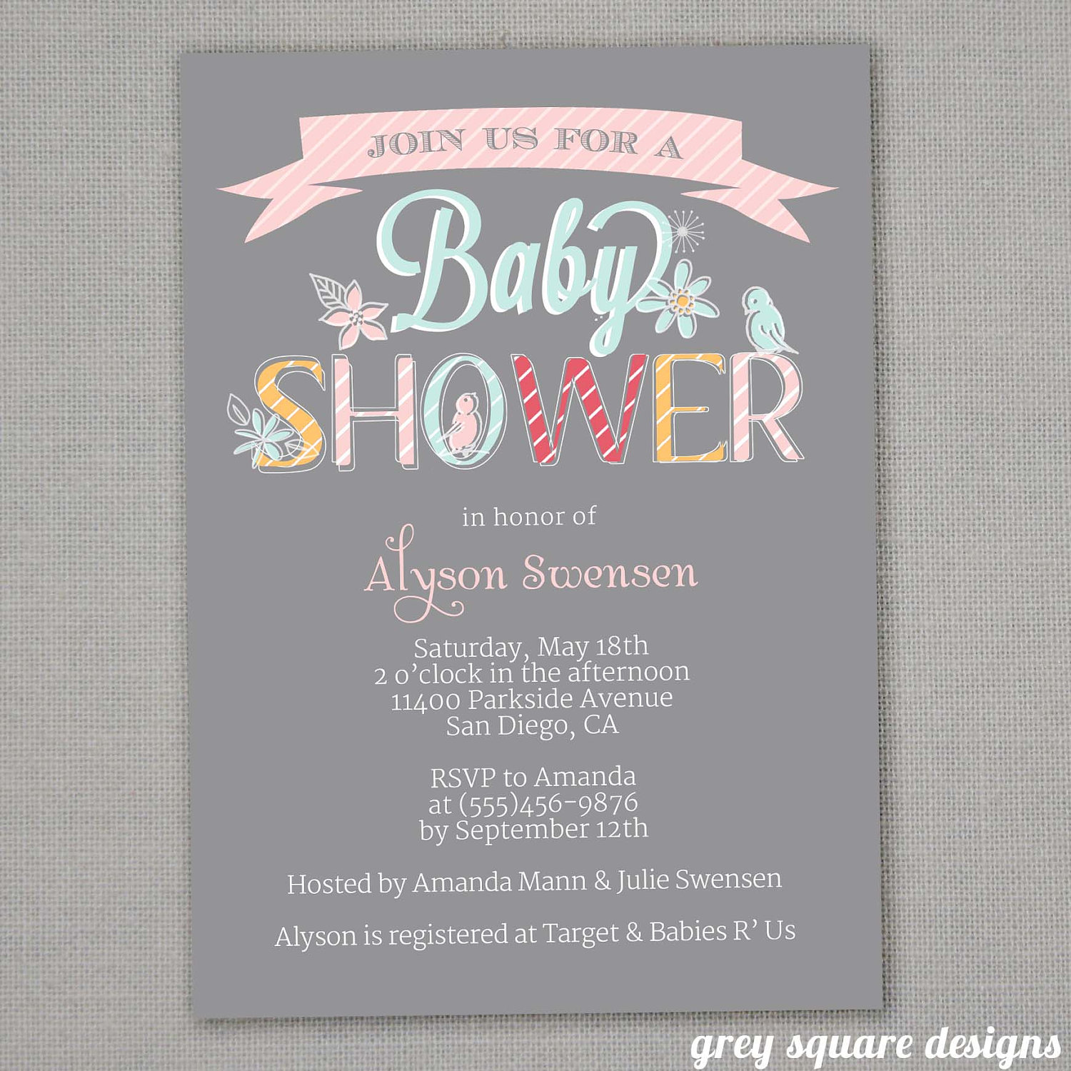 Invitations giraffe baby shower girl baby shower stork baby shower