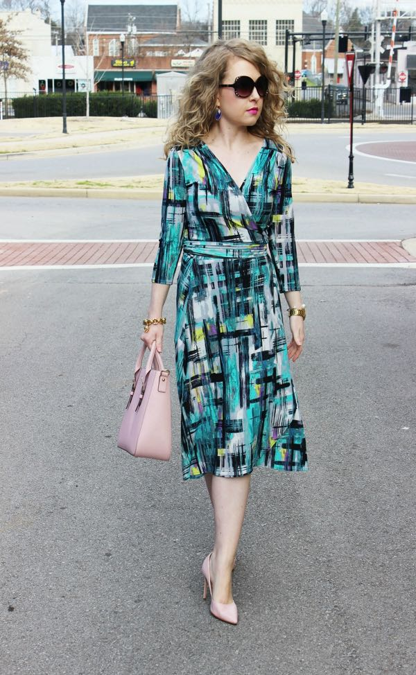 Wrap Dress in aqua painted plaid