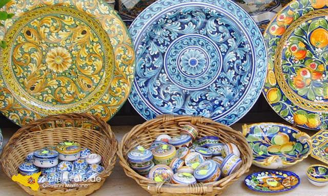 Kunsthandwerk sizilianische Majolika - handbemalte Keramik