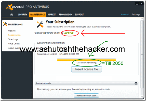 avast antivirus activated till 2050