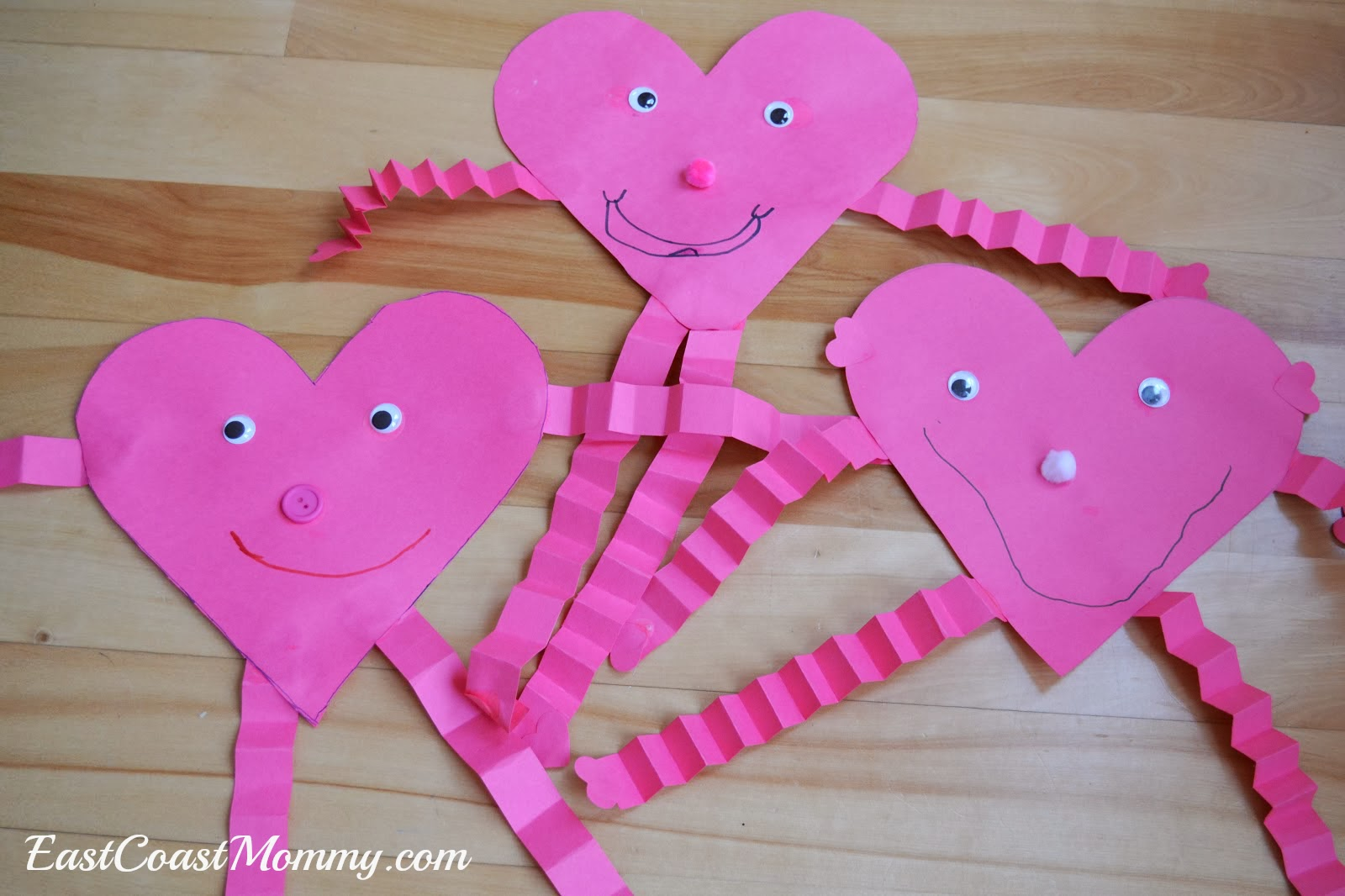 East coast mommy preschool craft heart person for Easy heart crafts