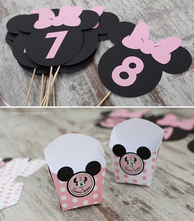 numere masa Minnie, cutii candy bar Minnie, Minnie Mouse