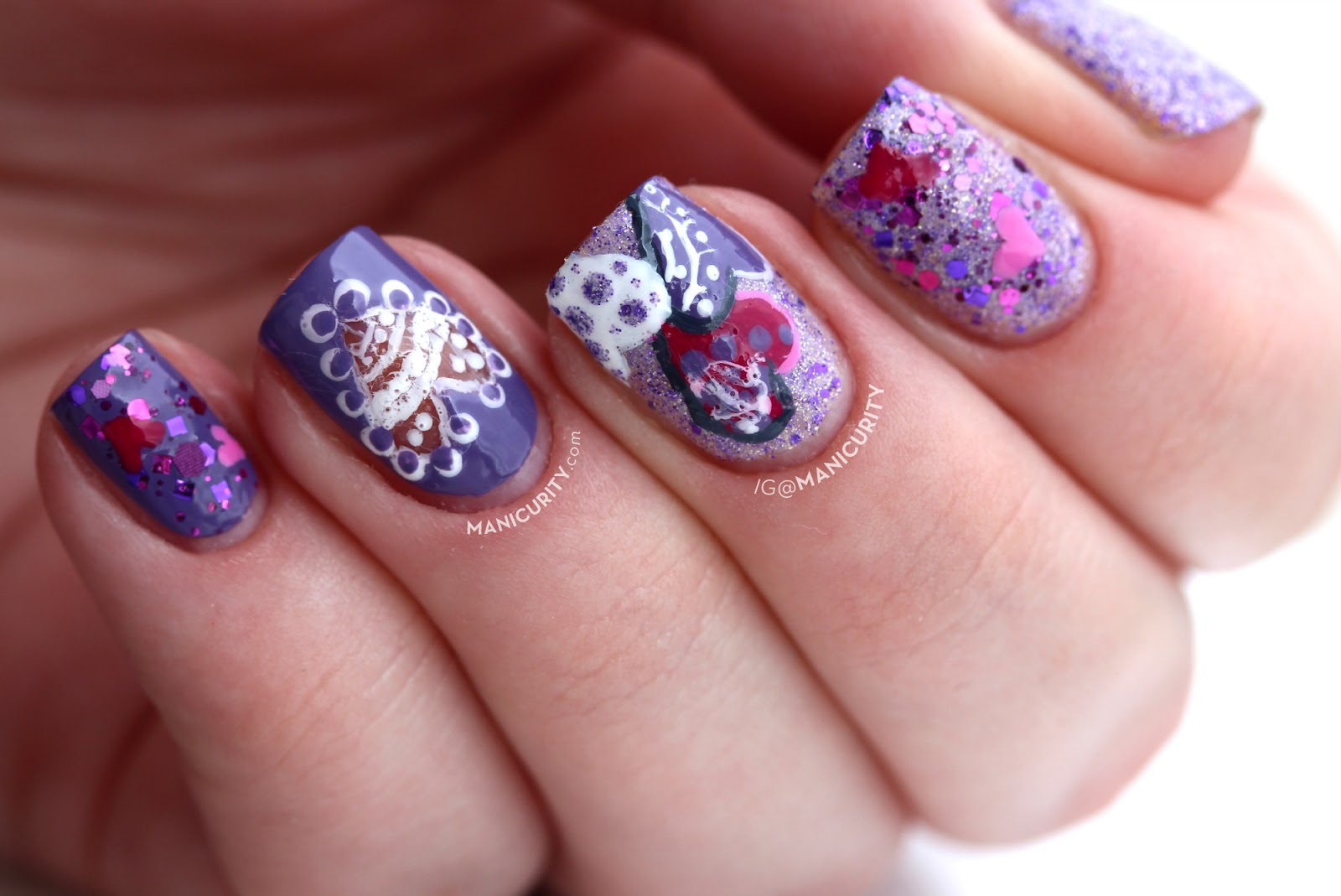 The Digit-al Dozen: Sugared Violet Lace Valentine - super cute, girly, and glittery Valentine's Day nail art for short nails | Manicurity.com